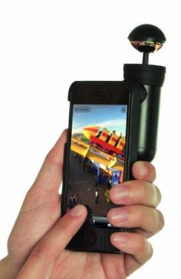 Bubblescope 360 Grad Kameralinse mit Clip-On Schutzhülle Case Cover für iPhone 5/5S - Schwarz - 1